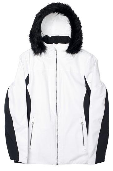 Spyder Women S Diamonte Faux Fur Jacket White Black Neptune
